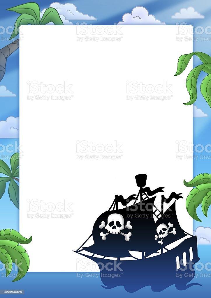 Frame With Pirate Ship Silhouette Stock Photo More Pictures Of Art