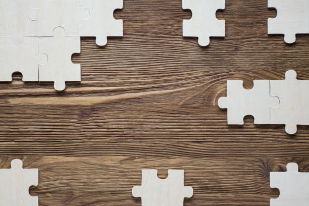 frame with puzzle. - puzzles stock photos and pictures
