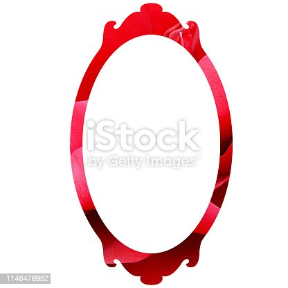 frame with red rose ribbon frame with red roses isolated on white background