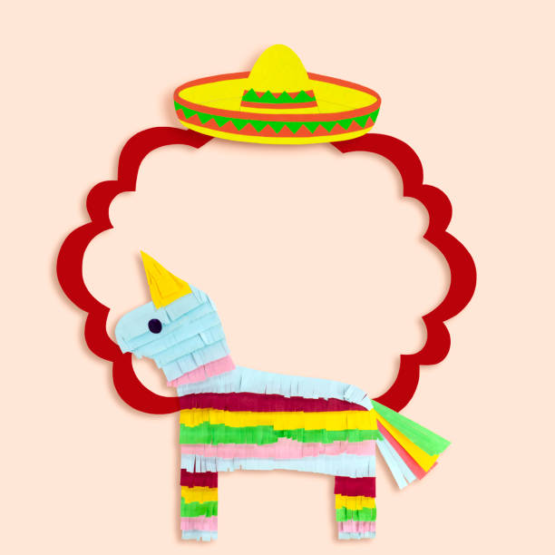 Frame with sombrero and pinata for Cinco de Mayo stock photo