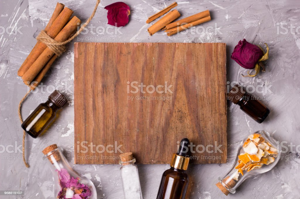 frame with spa set bottles stock photo