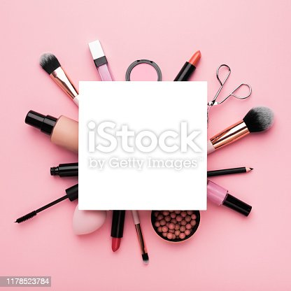 istock Frame with white blank sheet of paper with girlish staff around 1178523784