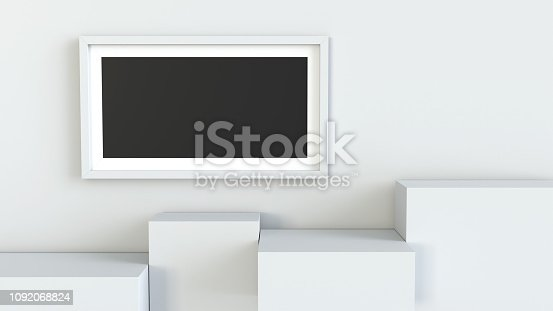 697820188 istock photo Frame with white cube podium on blank wall background. 3D rendering. 1092068824