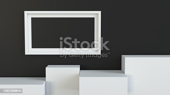 697820188 istock photo Frame with white cube podium on blank wall background. 3D rendering. 1092068844