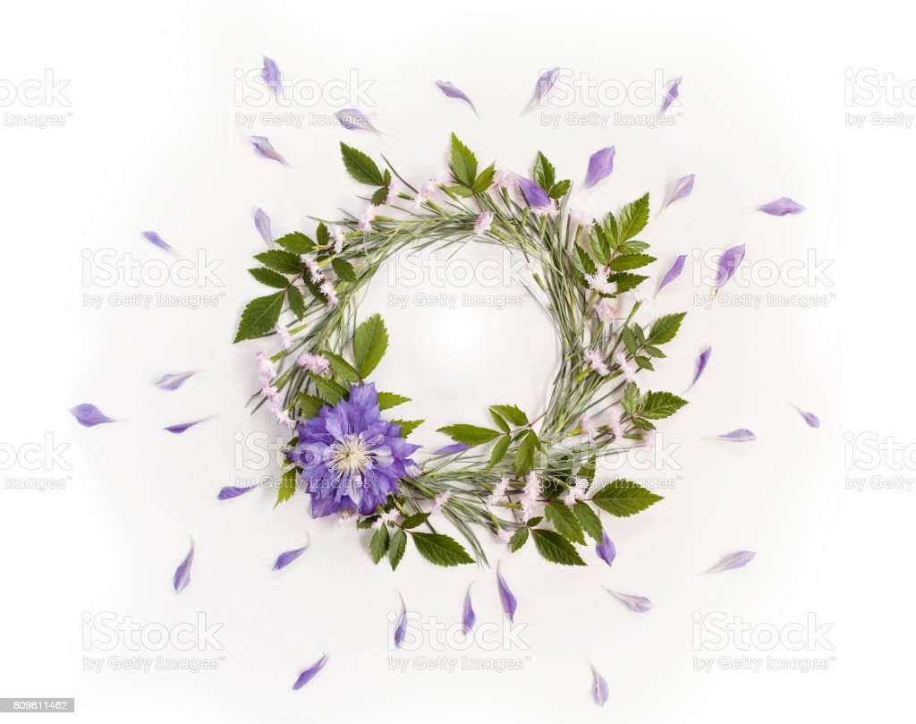 Frame Wreath With White And Pink Flowers Branches Leaves And Petals