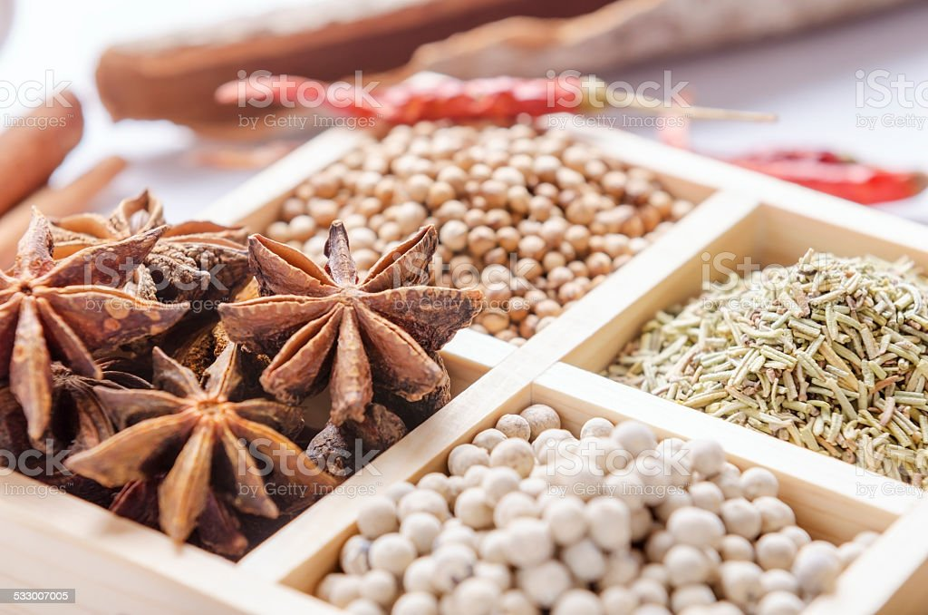 Framed collection of spices stock photo