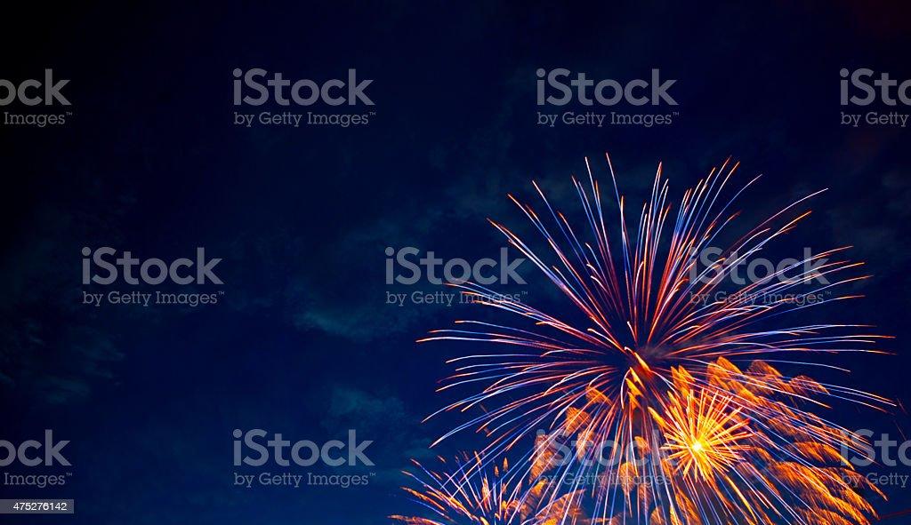 Framed Explosion 4th July fireworks. Fireworks display on dark sky background. 2015 Stock Photo