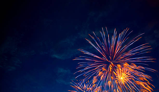 Framed Explosion 4th July fireworks. Fireworks display on dark sky background. firework display stock pictures, royalty-free photos & images