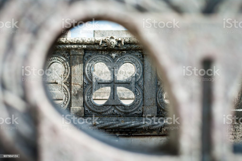 Framed feature of Belem Tower stock photo