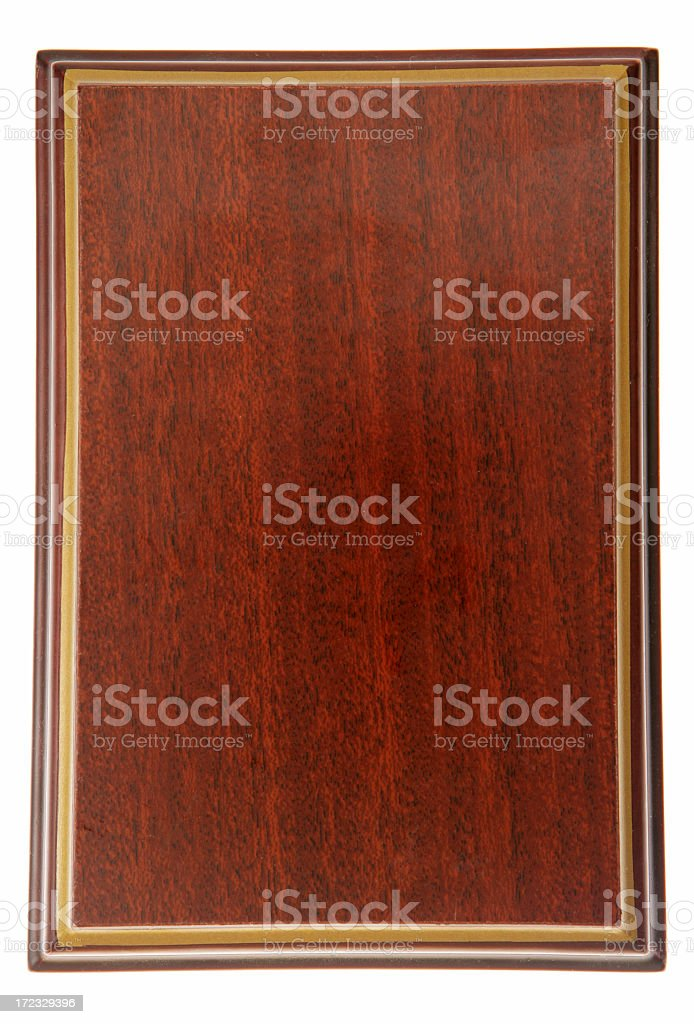 Framed glossy dark wood plaque stock photo