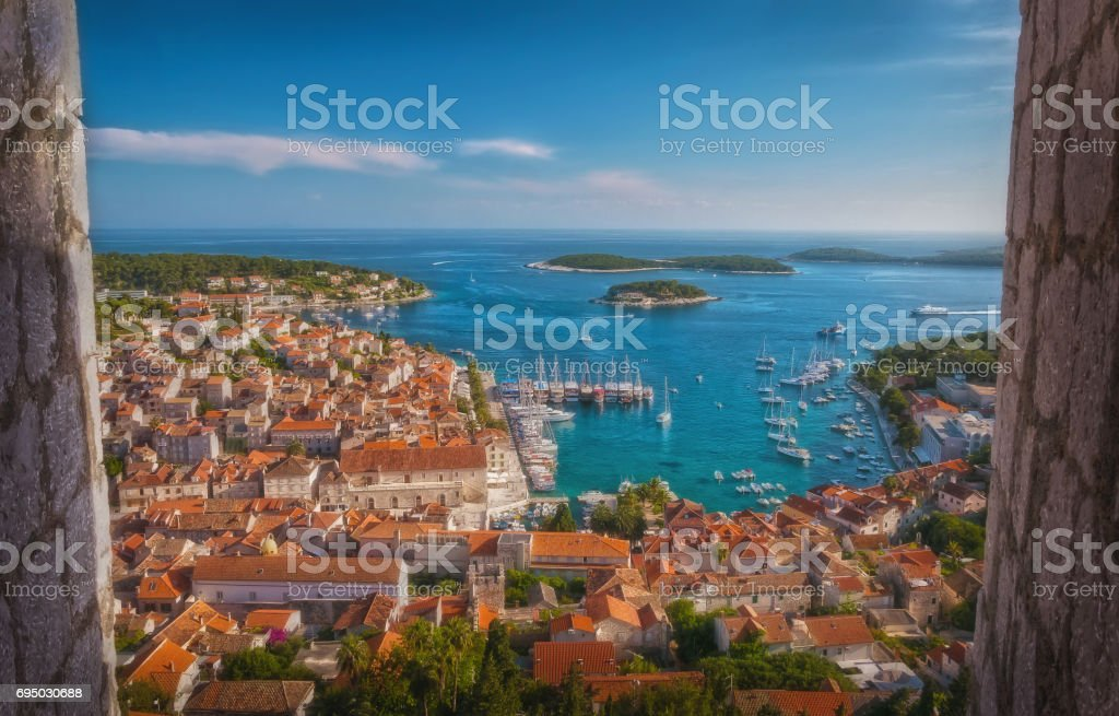 Framed high angle view of Hvar, Croatia. stock photo