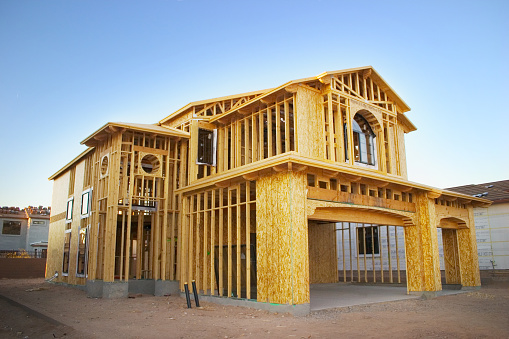 A house in the framing stages.