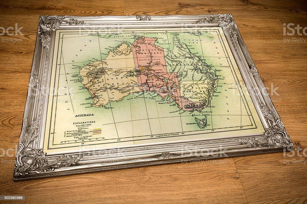 Framed Map of Australia stock photo