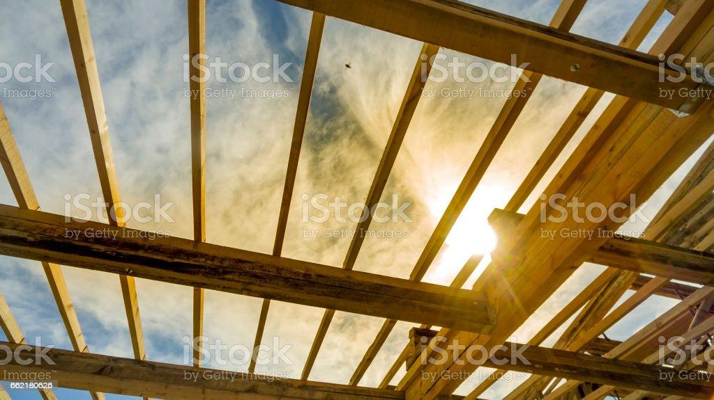 Framed New Construction of a House against sunset, sunrise Lizenzfreies stock-foto