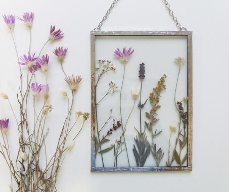 Handmade herbarium in tiffany technique for walls decor