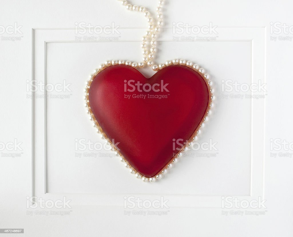 Framed Red Heart with Pearls royalty-free stock photo