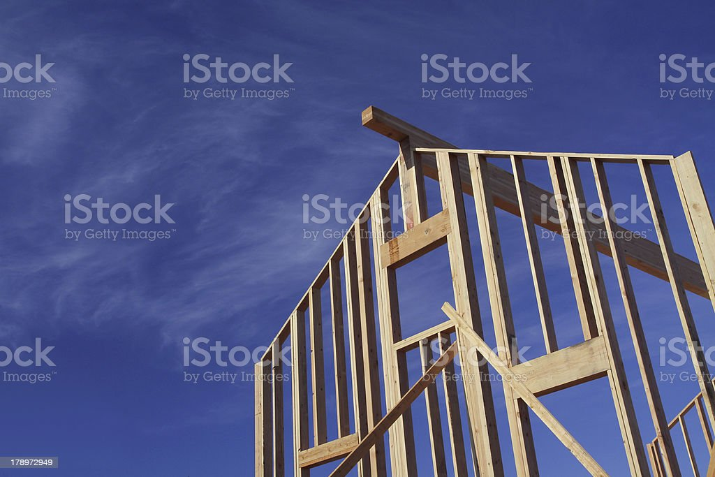Framed Wall with Blue Sky stock photo
