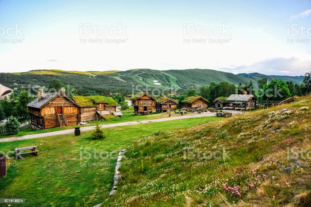 Framehouses with grass on the roof, Geilo, Norway stock photo