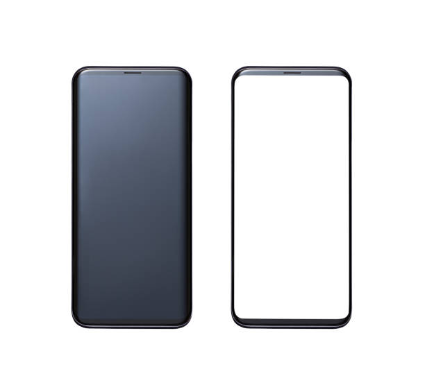 Frameless smartphone with original and white screen isolated on white background. Screens and phones have clipping path