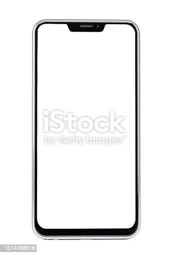 istock Frameless smartphone with white screen isolated on white background 1014068816