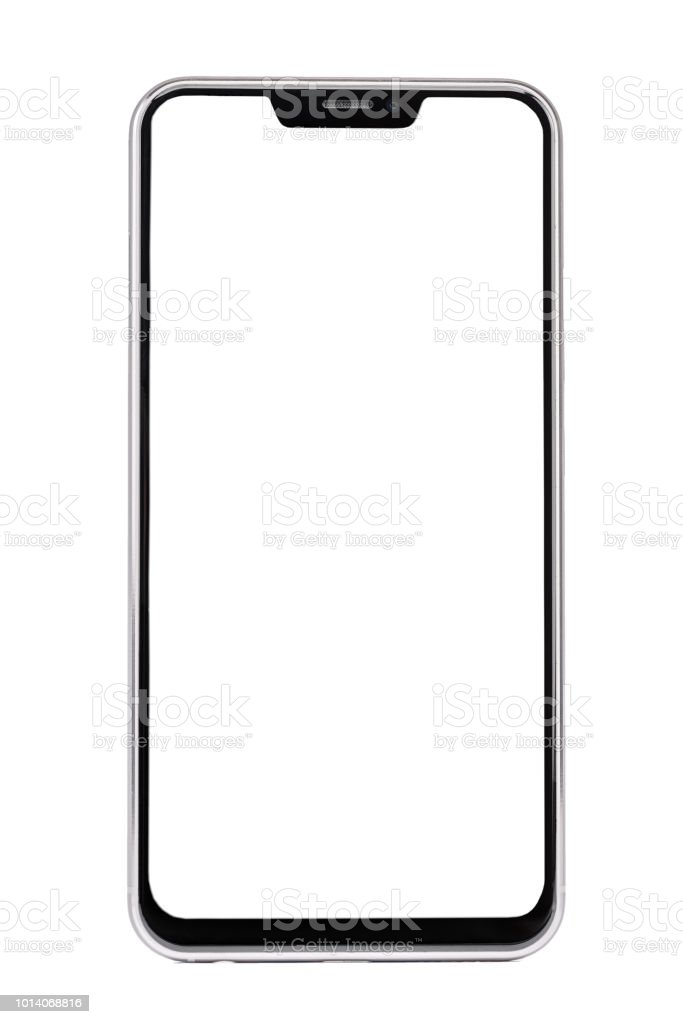 Frameless smartphone with white screen isolated on white background stock photo