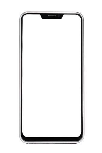 真っ白な白い背景で隔離のフレームレス スマート フォン - GUIのストックフォトや画像を多数ご用意