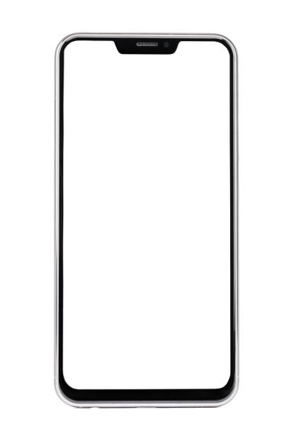 Frameless smartphone with white screen isolated on white background - foto stock