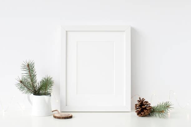 frames christmas mockup. scandinavian style. - christmas background стоковые фото и изображения