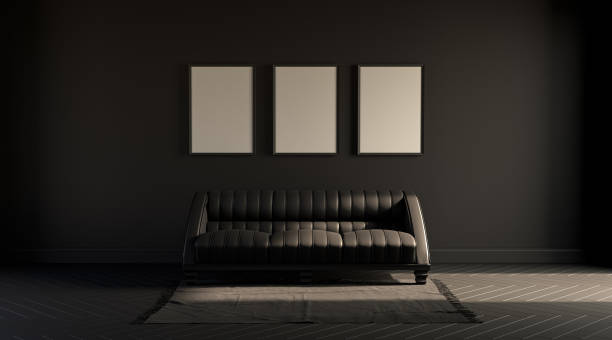 3 Frames In A Dark Room With A Single Sofa On A Carpet Black Background 3d Rendering Stock Photo Download Image Now Istock