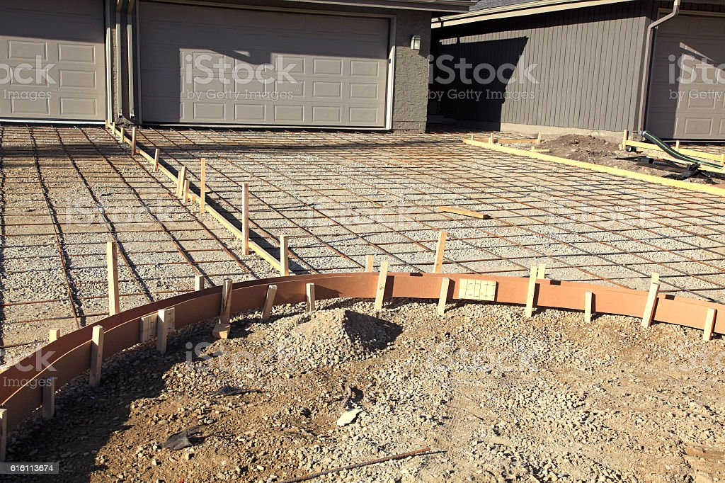 Framework And Rebar Grid For The New Residential Driveways stock photo
