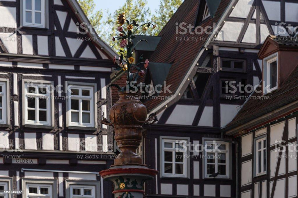 ramen staden fasader i södra Tyskland - Royaltyfri Arkitektur Bildbanksbilder