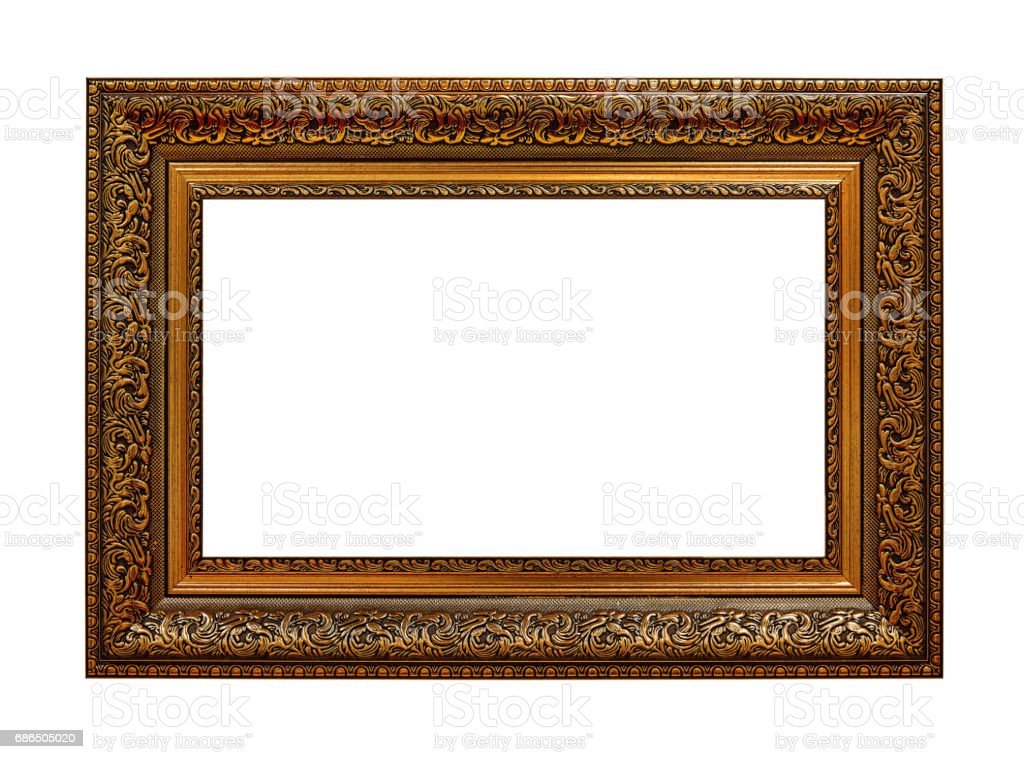 Framework in antique style. Gold Vintage picture frame isolated on white background royalty-free stock photo