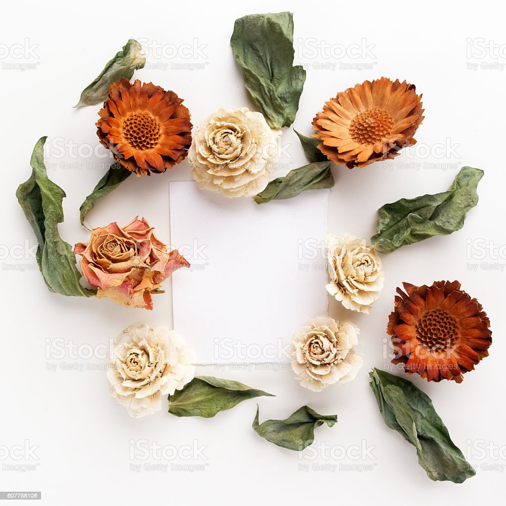 Framework With Dry Flowers On White Background Flat Lay Overhead