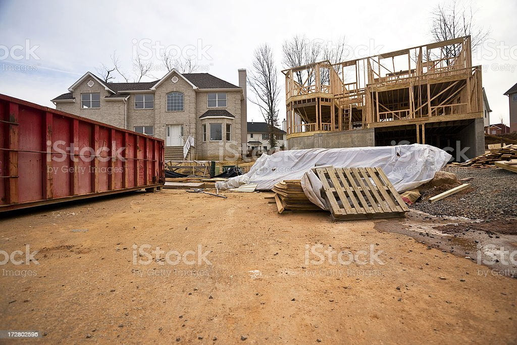 Framing, Finished and Dumpster stock photo