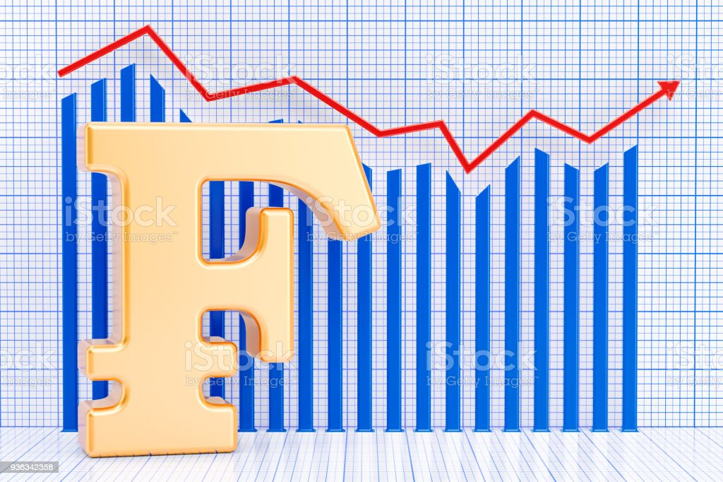 Franc symbol with growing chart. 3D rendering stock photo