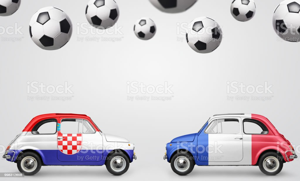 France and Croatia football cars - foto stock