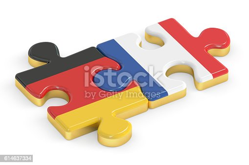 France and Germany puzzles from flags, relation concept. 3D rendering