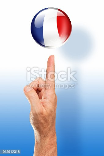 istock France button french flag pointing with human hand 915912016