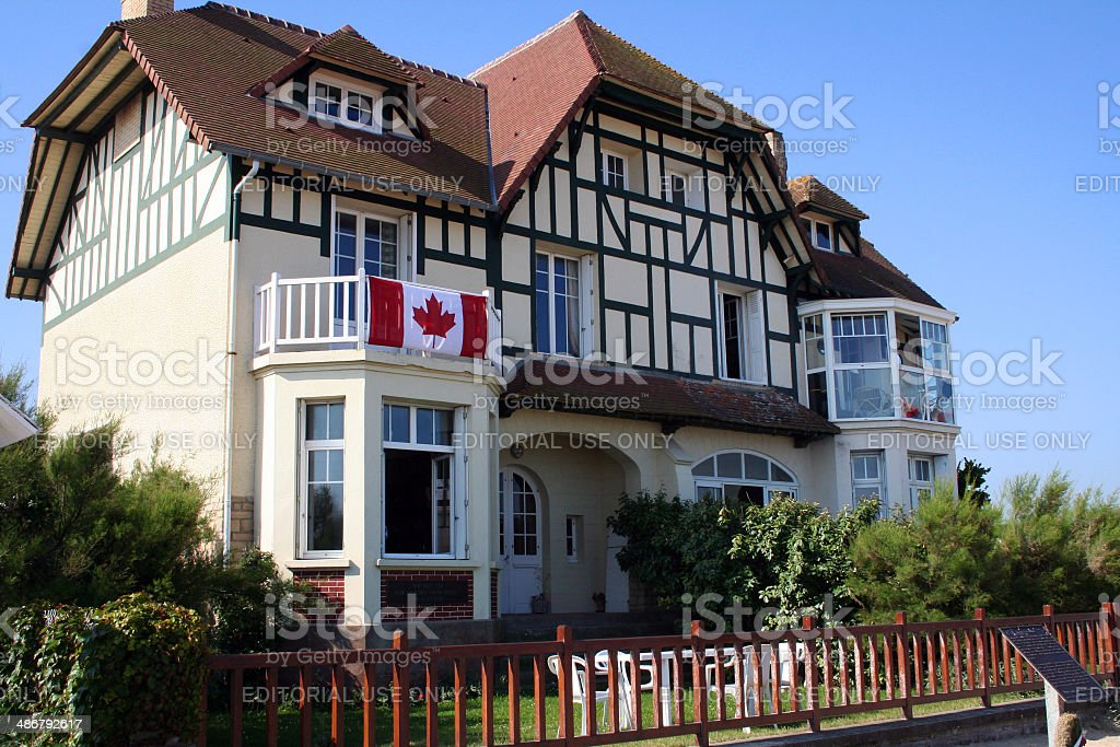 France: Canada House at Bernieres-sur-mer stock photo
