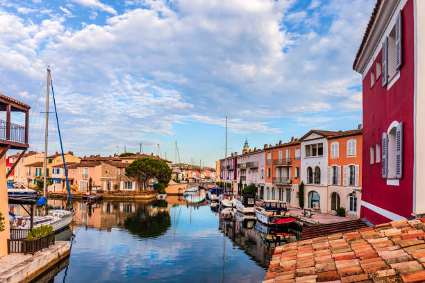 France, Channels and colorful buildings of Port Grimaud stock photo