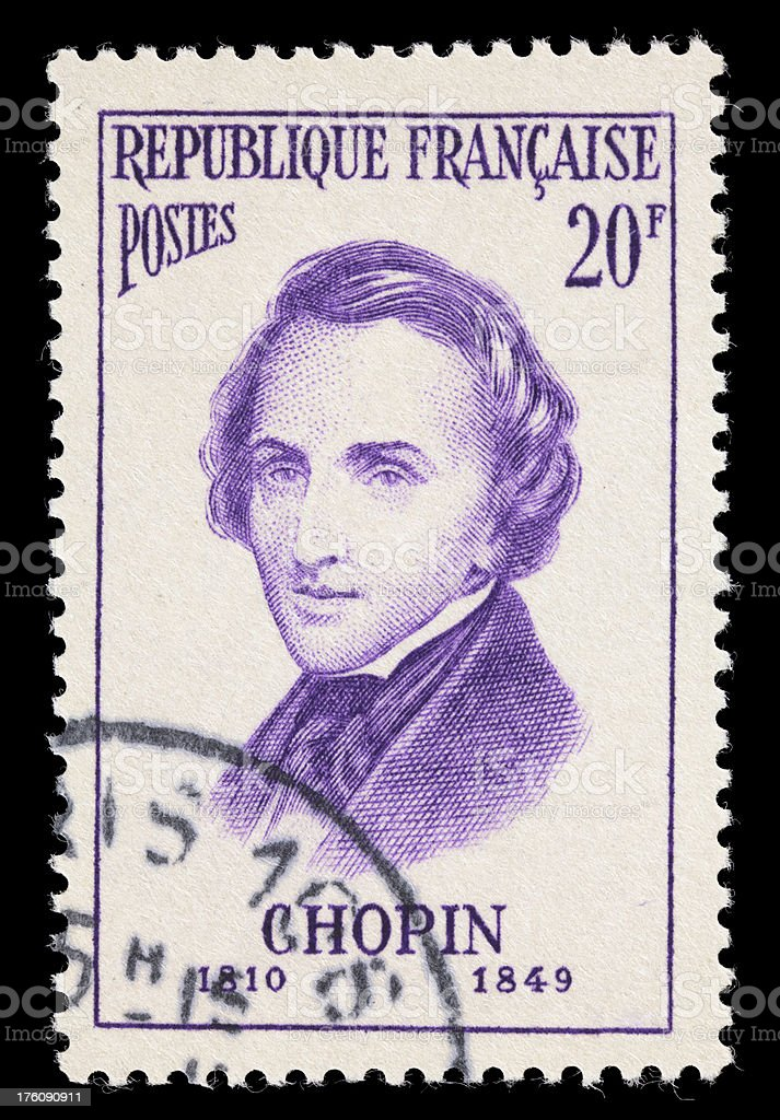 France Chopin postage stamp stock photo