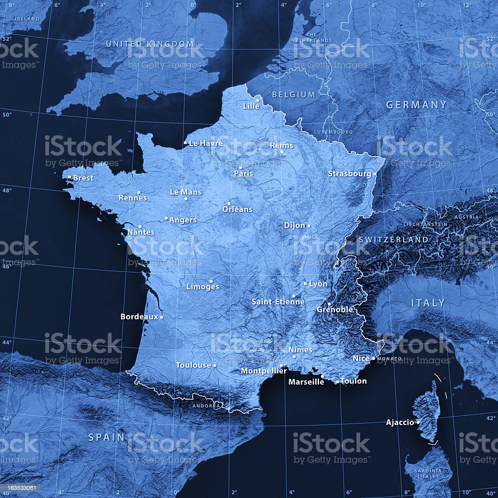 Photo libre de droit de France Villes De Carte Topographique banque d'images et plus d'images ...
