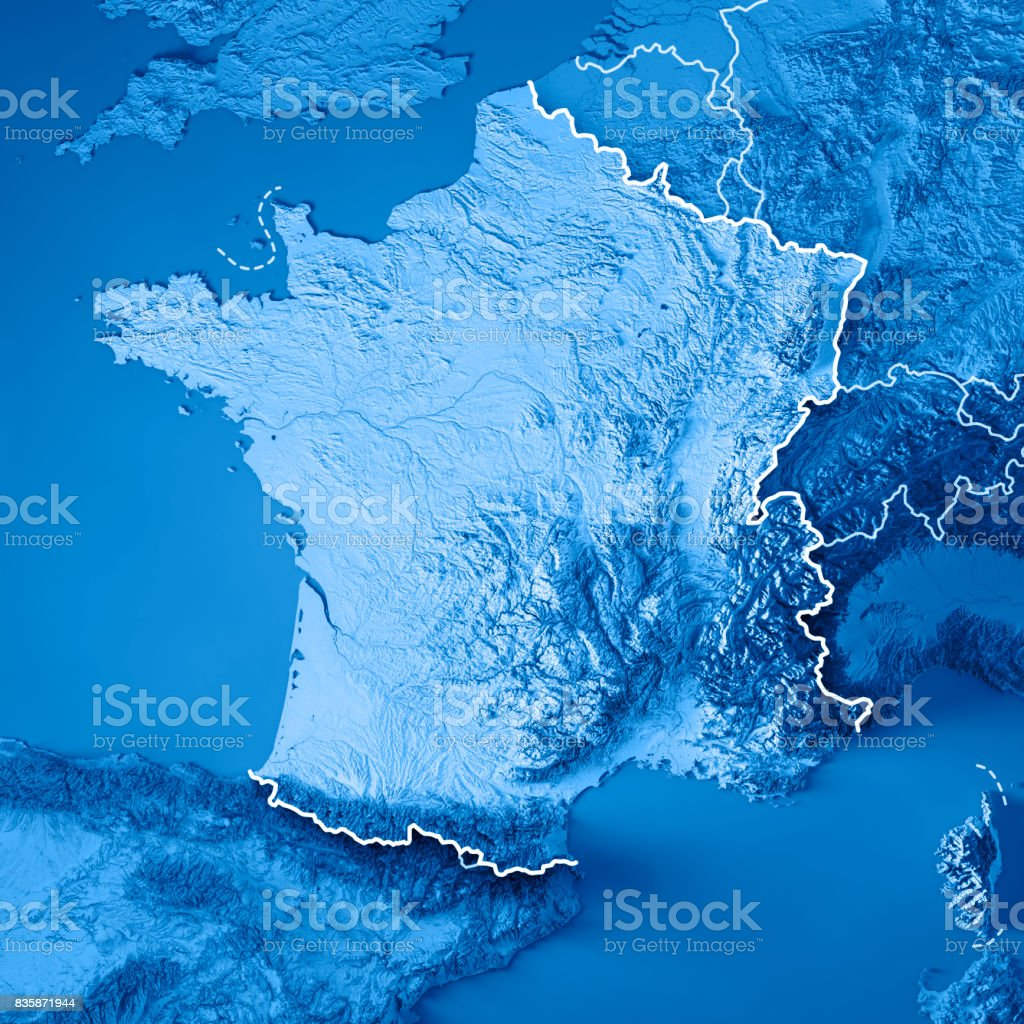 Topographic Map France.France Country 3d Render Topographic Map Blue Border Stock Photo