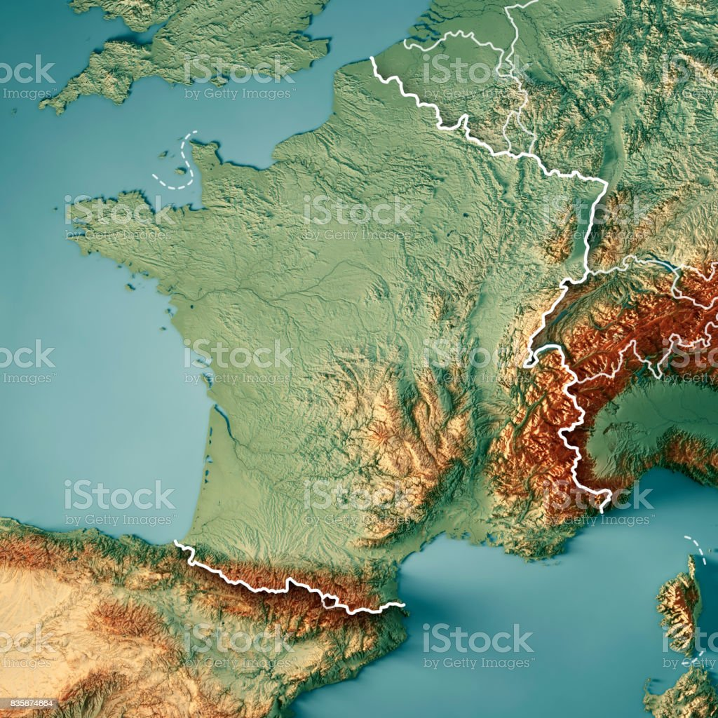 France Country 3D Render Topographic Map Border stock photo