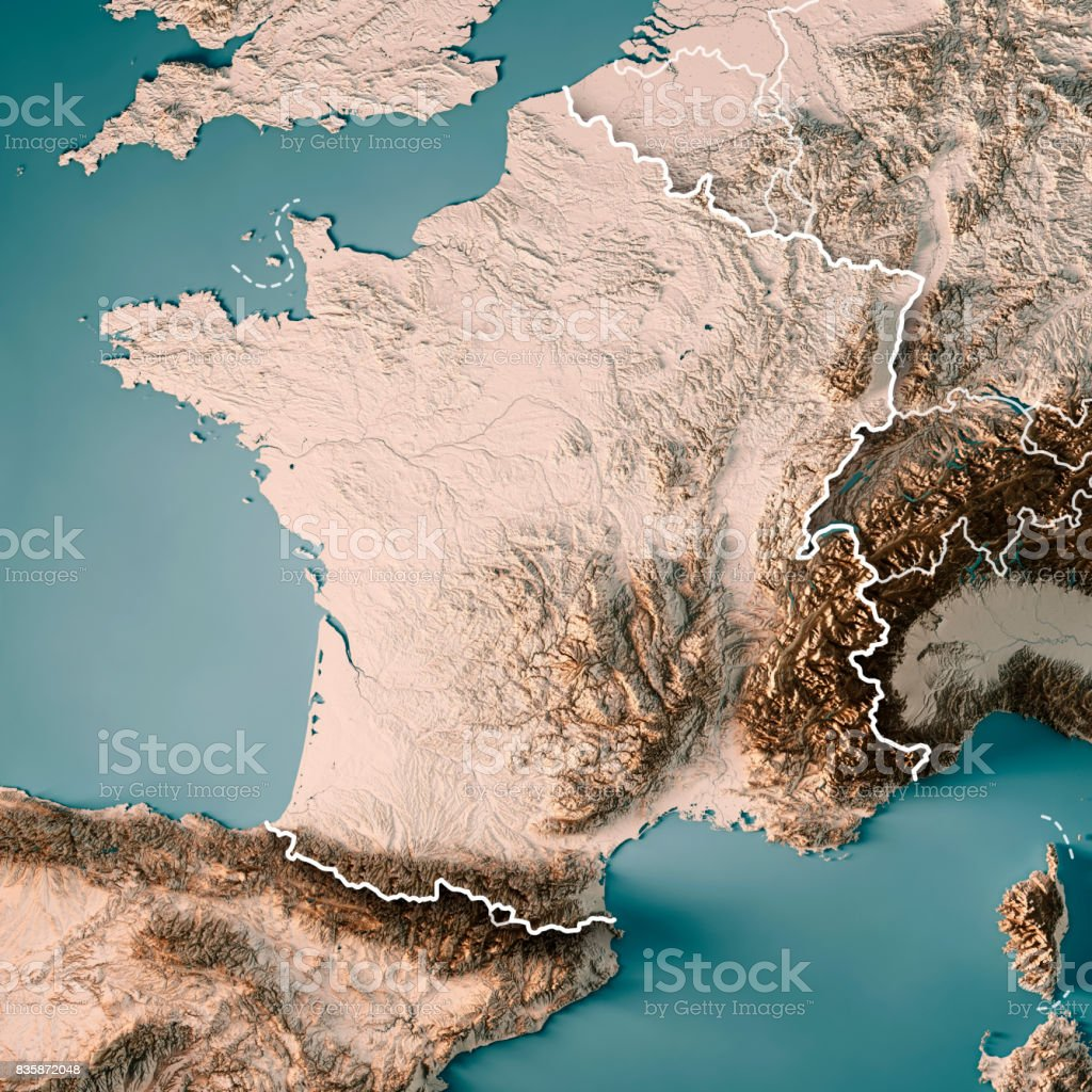 France Country 3d Render Topographic Map Neutral Border Stock Photo
