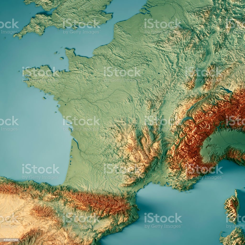 France Country 3D Render Topographic Map stock photo