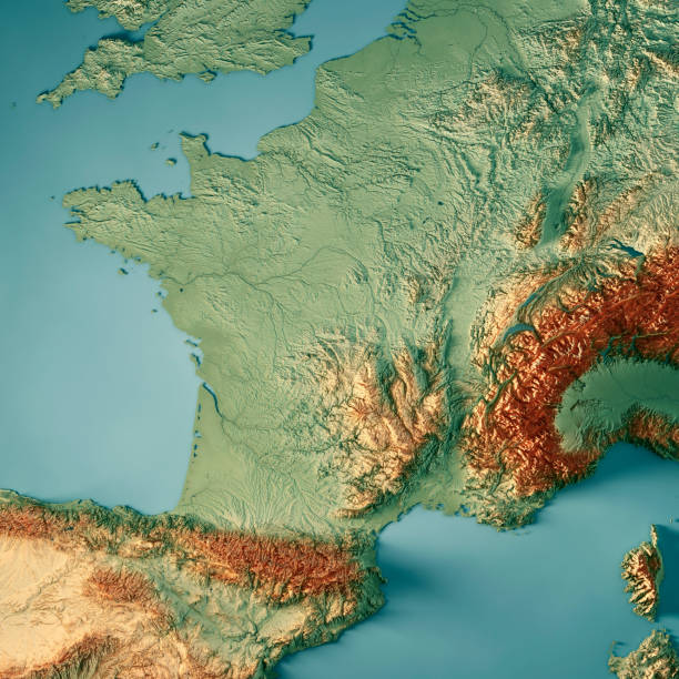 france pays 3d render carte topographique - carte france photos et images de collection