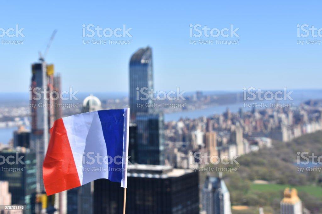 Drapeau de la France dans le contexte de Central Park photo libre de droits