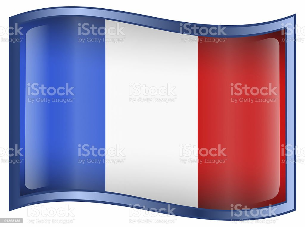 France Flag Icon, isolated on white background. royalty-free stock photo