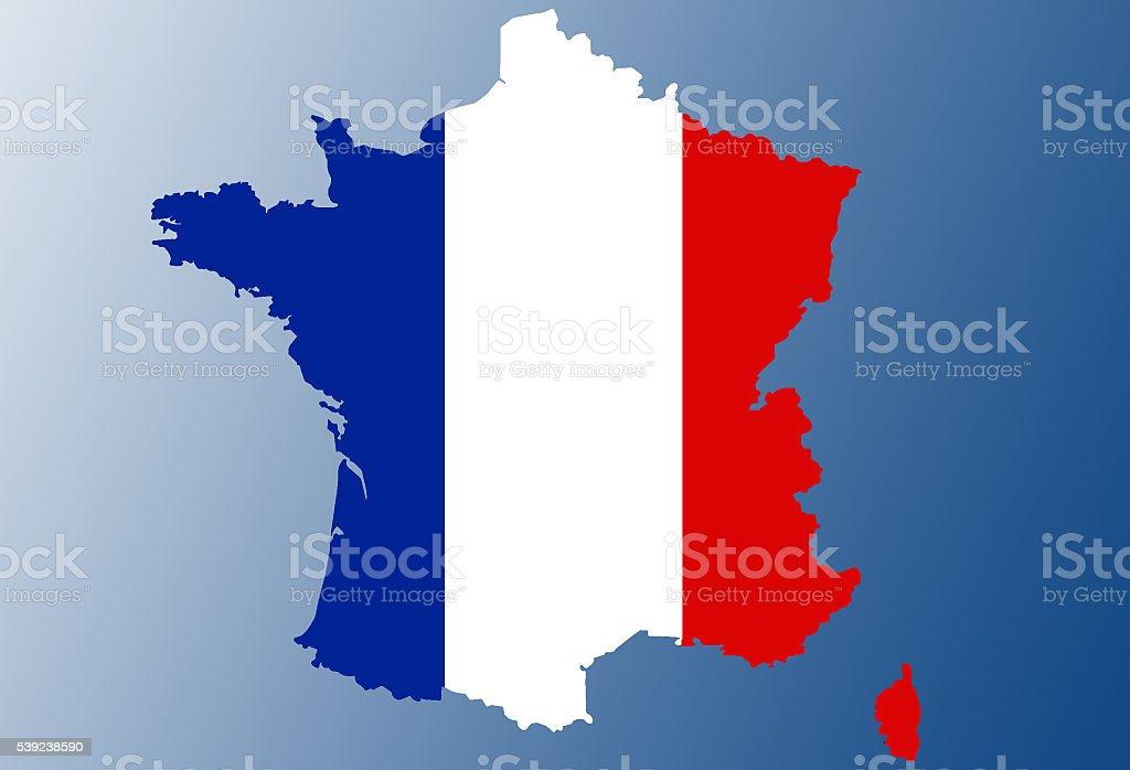 Bandera de Mapa de Francia foto de stock libre de derechos